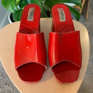 Vintage Guess patent leather/wooden heels